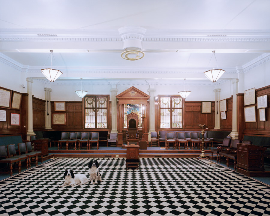 Temple of the Provincial Grand Lodge of Yorkshire West Riding, Bradford, England, 2015. The Provincial Grand Lodge building at Spring Bank Place was closed down the day after this photo was taken. The dogs belong to a member of the board of directors of Spring Bank Place. On this day he picked up the property of his Lodge.