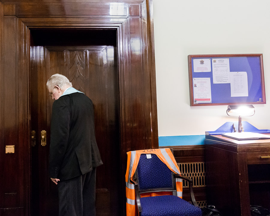 Tyler at 'Freemasons' Hall', London, England, 2015. The Tyler has to guard the door during a meeting from the outside.